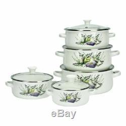 10 Pc Enamel Cookware Set Casserole Pots Lid Soup Stockpot Flowers White Pan New