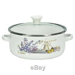 10 Pc Enamel Cookware Set Casserole Pots Lid Soup Stockpot Kitchen White Pan New