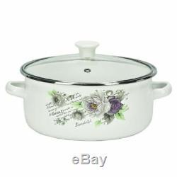 10 Pc Enamel Cookware Set Casserole Pots Lid Soup Stockpot Rose White Pan Violet