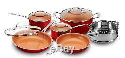 10 Piece Copper Non stick Set Chef Steamer Skillet Sauce Pan With Lids NEW