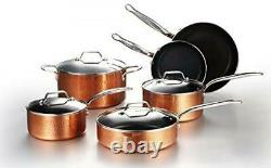 10 Piece Hammered Copper Cookware Set Nonstick Coating Induction Pots and Pans