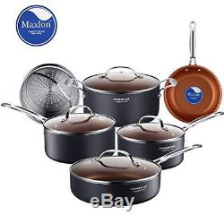 10-Piece Non-Stick Cookware Set Ceramic Induction Cooking Pots and Pans With Lid