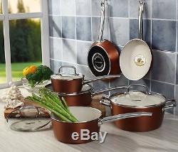 10-piece Pots and Pans Set, Cooksmark Ceranano Ceramic Nonstick Dishwasher Safe