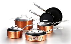 10pc Hammered Copper Cookware Set with Nonstick Coating Induction Pots & Pan Set