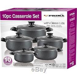 10pc Non-stick Complete Cookware Pan Pot Set Glass LID Kitchen Casserole Black