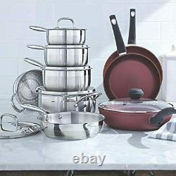 11 PCS Stainless-Steel Cookware Set Kitchen Pots and Pans Set with Covered New