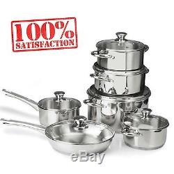 12 PCS Stainless Steel Kitchen Cookware Set Pots Pans Tri-Ply Bottoms Cooking
