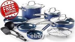 12 Piece COOKWARE SET Toxin-Free Non Stick Pots Pans by Blue Diamond FREE Ship