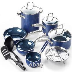 12-Piece Ceramic Nonstick Cookware Set Lid Pans & Pots Home Kitchen Cooking Blue