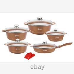 12 pcs Dessini luxury pot set kitchen Ceramic non-stick cooking saucepan & pan