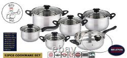 12pc Deluxe Quality Casserole Saucepan S/s Stock Pot Fry Pan Induction Cookware