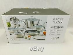 13 pc Culinary Science Martha Stewart Collection Cookware Set Pots Pans Skillets