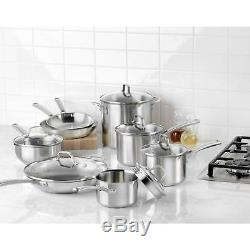 14-Piece Cookware Set Calphalon Classic Stainless Steel Pots and Pans Safe