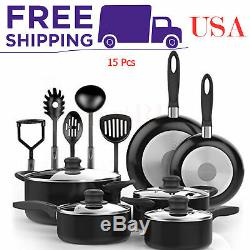 15 Pcs Nonstick Cookware Set Fry Pans Cooking Utensils Saucepans Glass Lid Black