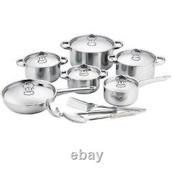 15pc Aluminium Pan Set Cookware Induction Frying Non Stick Saucepan Pots