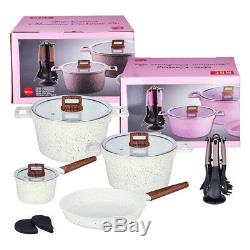 16PC Ceramic Casserole Cookware Set Non Stick Frying Pan Saucepans Induction Pot