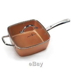 16Pcs Copper Chef XL Cookware Set Casserole Set Pan Lids + Induction Cooktop NEW