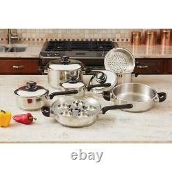 17 PC heavy-gauge T304 stainless steel Kitchen Cooking Chef Style Cookware Set