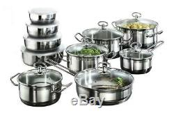 #1 Satin Stripes Home Cookware Set Saucepan Set Pots and Pans Induction 20 Piece