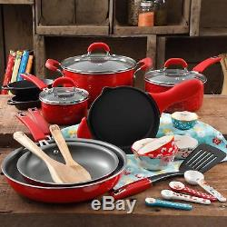 24-Piece Cookware Combo Pot And Pan Set The Pioneer Woman Vintage Speckle Red