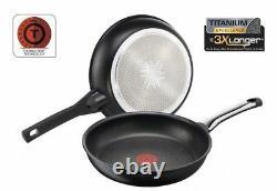 2 Pcs Tefal Talent Pro Frying Pan Diameter 24 And 28 CM Titanium Set Pans New