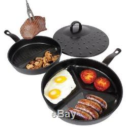 3 In 1 Frying Pan Set Kitchen Non Stick Delicious Breakfast Divide Wonder Combo