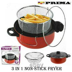 3 In 1 Non-stick Chip Pan Steamer Set Deep Fat Fryer Frying Basket Pot Glass LID