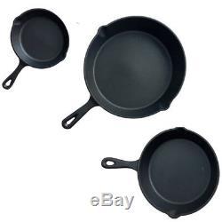 3 Piece Pre Seasoned Non- Stick Skillet Set Grill Round Fry Pan Black UKDC