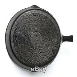 3 Piece Pre Seasoned Non- Stick Skillet Set Grill Round Fry Pan Black UKES