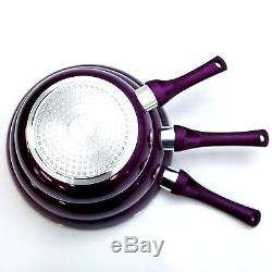 3pc Ceramic Stone Ware Marble Induction Frying Pan Set High Quality Fry 28,24,20