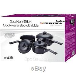 3pcs Non Stick Saucepan Cookware Cooking Set Pots Pans With Vented Lids