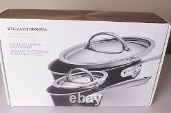4p Williams Sonoma Hard Anodized Copper Core nonstick cookware sauce & saute pan