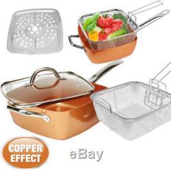 4pc Aluminium Non Stick Frying Pan Set Chip Pan Oven Basket Pot With Glass LID