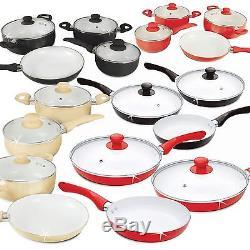5/7 Pc Ceramic Saucepan Pot Glass LID Cookware Set Fry Pan Frying Non Stick