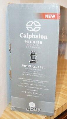 5pc Calphalon Nonstick Supper Club Set Premier Space Saving Hard Anodized Black