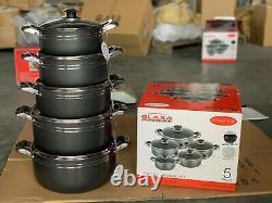 5pc Non Stick Coating Stock Pot Deep Casserole Set Cooking Pot Set 20cm to 28cm