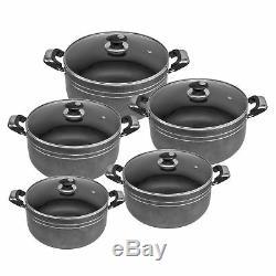 5pc Non Stick Die Cast Stock pot Deep Casserole Set Cooking Pot 20cm to 28cm