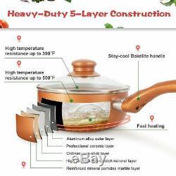 6 Pcs Copper Chef Cookware Set Non-stick Aluminum with Lids Pots and Frying Pans
