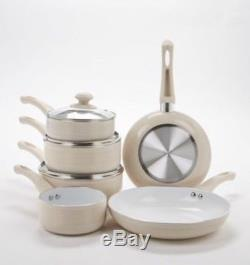 6 Piece Ribbed Ceramic Non-Stick Pan Set Cream