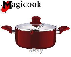 6pc Ceramic Cookware Set Saucepan Pot Glass LID Kitchen Fry Pan Frying Non Stick