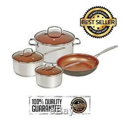 7Pcs NuWave Deluxe Cookware Set Non-stick Pots Pan Lids Induction Kitchen Silver