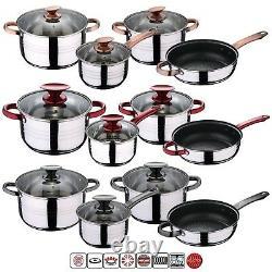 7 Pcs STAINLESS STEEL INDUCTION HOB COOKWARE CASSEROLE POT SAUCEPAN DINING SET