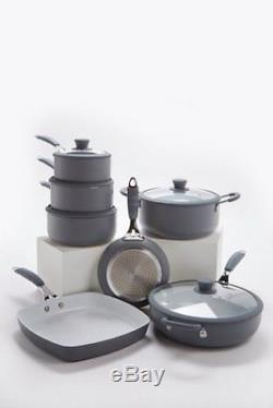 7 Piece Grey Professional Cookware Set Non Stick Silicon Handles INDUCTION