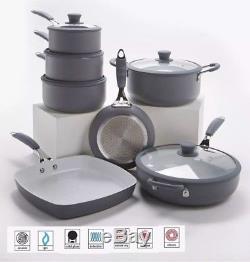 7 Piece Professional Grey Cookware Set Non Stick -Silicon Handles Bargain