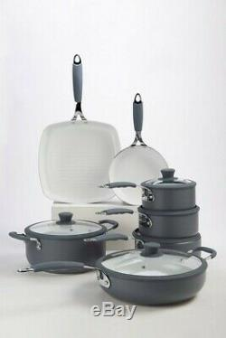 7 Piece Professional Grey Cookware Set Non Stick Silicon Handles INDUCTION BASES