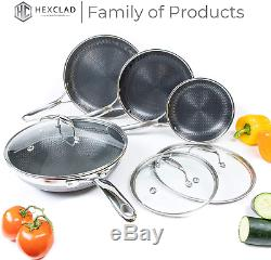 7-piece Hex Non-Stick Pan Wok Set with Lids, Professional Home Kitchen Cooking