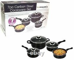 7pc Black Cookware Set Steel Pan Pot Carbon Saucepan Glass LID Kitchen Non Stik