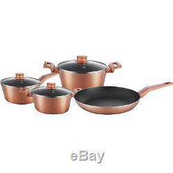 7pc Cookware Saucepan Frying Pan Induction Copper LID Non Stick Set Pot Kitchen