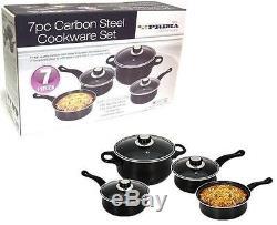 7pc Cookware Set Steel Pan Pot Carbon Non Stick Saucepan Glass LID Kitchen Fry