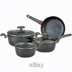 7pc Forged Non Stick Cookware Set Sauce Pan Pot Glass LID Kitchen Fry Pan Frying
